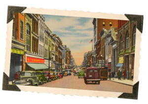 MAIN STREET LYNCHBURG 1940 POST CARD